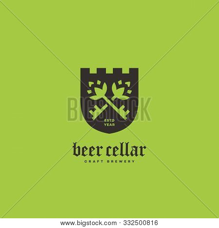Beer Cellar Logo Design Template With Two Keys On Shield. Vector Illustration.