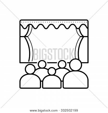 Black Line Icon For Theater Cinema Audience Spectator Stage Theatre-audience