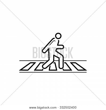 Black Line Icon For Zebra Crossing  Road  Pedestrian Walkway Safety