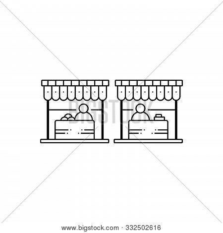 Black Line Icon For  Market Marketplace Bazaar  Shop Stall  Sale