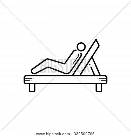 Black Line Icon For Resting Chair Repose Slumber Lie Back Relax