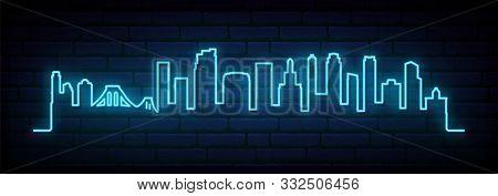 Blue Neon Skyline Of Brooklyn, New York City. Bright Brooklyn, Nyc Long Banner. Vector Illustration.