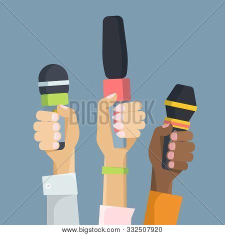 Multiethnic Journalists Holding Microphones Flat Vector Illustration