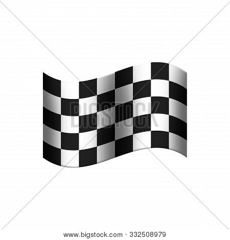 Chequered Flag With Black And White Squares Shown In A Checkerboard Pattern On A White Isolated Back