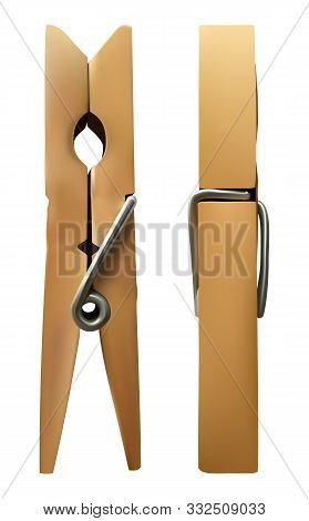 Vector Wooden Clothespin On White Isolated Background