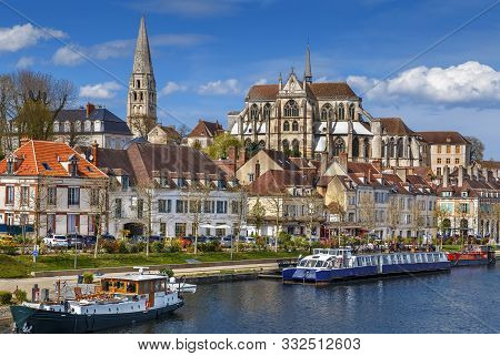 View Of Abbey Of Saint-germain From Yonne River, Auxerre, France