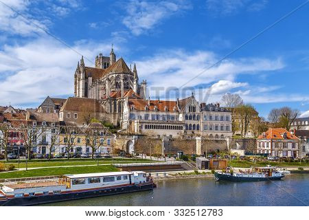 View Of Auxerre Cathedral From Yonne River, Auxerre, France
