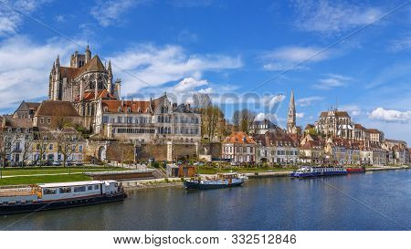 Panoramic View Of  Auxerre Cathedral And Abbey Of Saint-germain From Yonne River, Auxerre, France