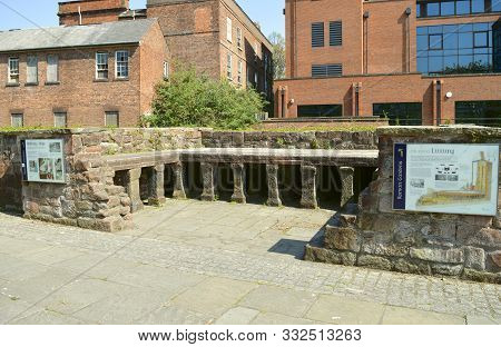 Chester, Cheshire, England, Uk, Europe - April 19, 2019 : Roman Bath Ruins In The Roman Gardens In C