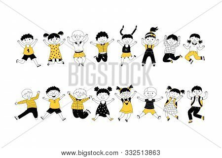 Cheerful Children Jumping Cartoon Vector Illustrations Set. Cute Kids, Classmates Together On White