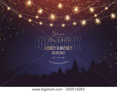 Magic Night Wedding Lights Vector Design Invitation. Party Hanging Lamp Garlands. Landscape Purple B