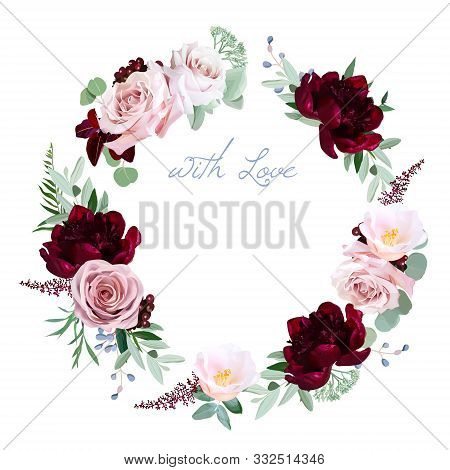 Dusty Rose, Burgundy Red Peony, Camellia, Greenery Vector Design Round Invitation Frame. Pink, Blue,