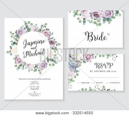 Floral Wedding Vector Frames. Dusty Violet Lavender, Creamy And Mauve Antique Rose, Purple Pale Flow