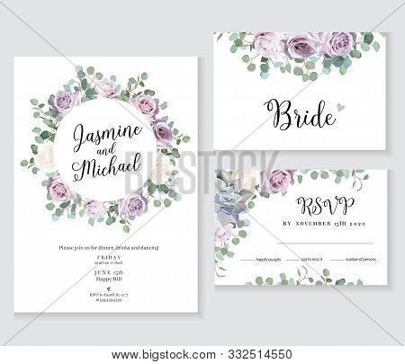 Floral Wedding Vector Frames. Dusty Violet Lavender, Creamy And Mauve Antique Rose, Purple Pale Flow