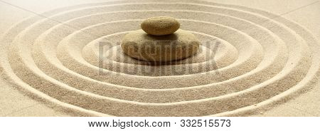 Zen Garden Meditation Stone Background With Stones And Lines In Sand For Relaxation Balance And Harm