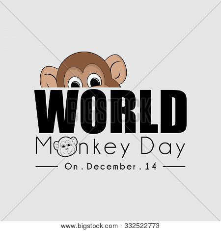 World Monkey Day Typography With A Monkey Peeking From Above Text
