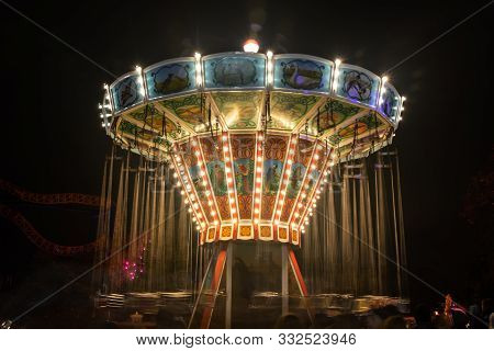 Helsinki, Finland - 19 October 2019: The Carnival Of Light Event At The Linnanmaki Amusement Park. R