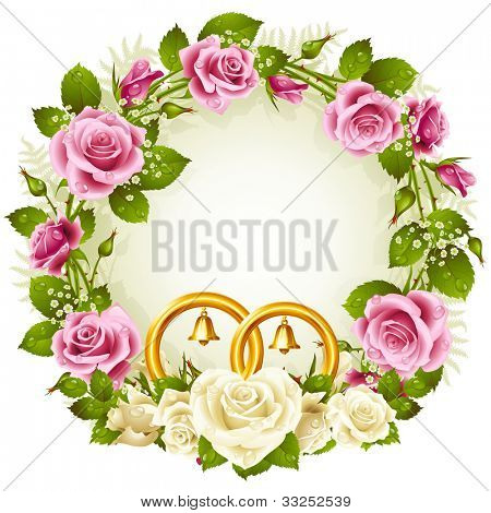Flower frame. Vector white and pink rose with golden wedding rings isolated on white background