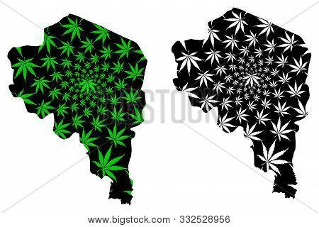 Kerman Province (provinces Of Iran, Islamic Republic Of Iran, Persia) Map Is Designed Cannabis Leaf