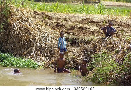 Local Ehiopian Children Play And Wait Countryside Of Gondar Region In Ethiopia,30.january 2019