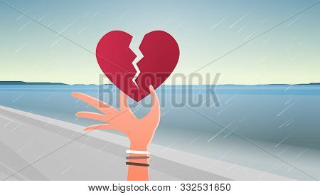Woman Hand Holding Broken Heart Depression Life Crisis Break Up Divorce Betrayal Concept Sea Beach S