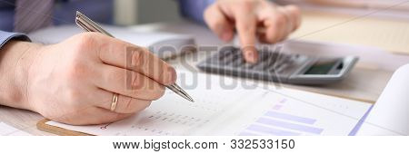 Accountant Calculate Finances Corporate Report. Man Accounting Financial Business Data Using Calcula