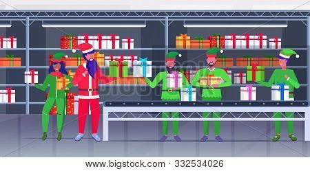 african american santa claus with mix race elves loading colorful gift present boxes on conveyor belt merry christmas happy new year celebration concept modern warehouse interior horizontal vector illustration poster