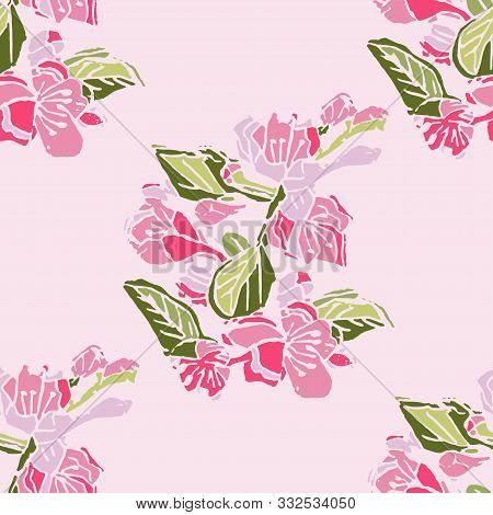 Seamless Pattern With Hand Made Lino Cut Of Colored Blossoming Branch Of Apple Tree Flowers On Pink
