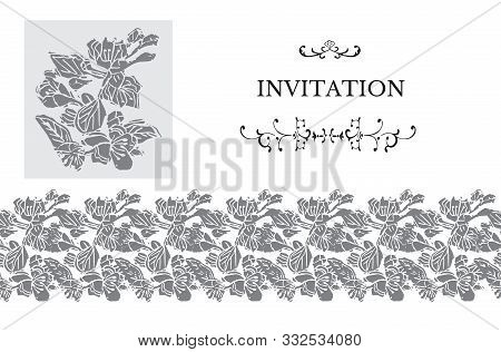 Horizontal Monochrome Template For Invitation Or Greeting Card With Gray Blossoming Branch Of Apple