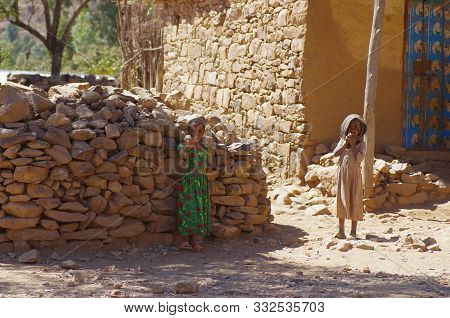 Local Ehiopian Children Play And Wait Countryside Of Tigray Region In Ethiopia, 2.february 2019