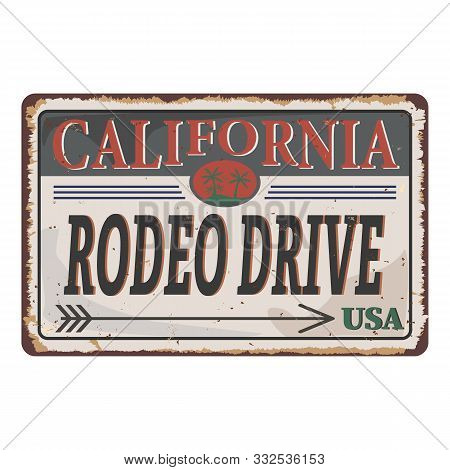 Rodeo Drive Rusty Tin Metal Plate Print Vector