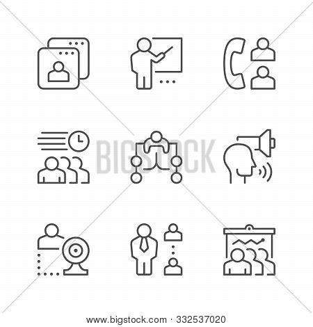Set Line Icons Of Meeting Isolated On White. Phone Call, Business Report, Delegation, Webcam Communi