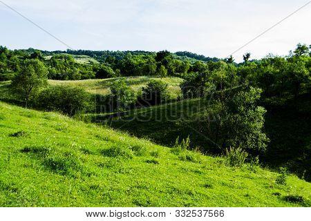 Landscape Of A Green Forest In Prislop County, Bistrita-nasaud, Romania.