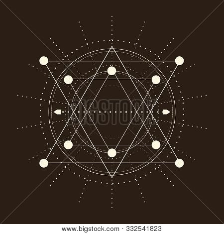 Mystical Geometry Symbol. Linear Alchemy, Occult, Philosophical Sign. For Music Album Cover, Poster,