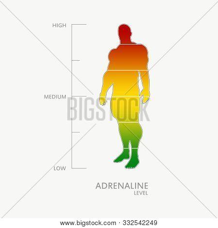 Hormone Adrenaline Level Measuring Scale. Health Care Concept Illustration. Muscular Man Silhouette.