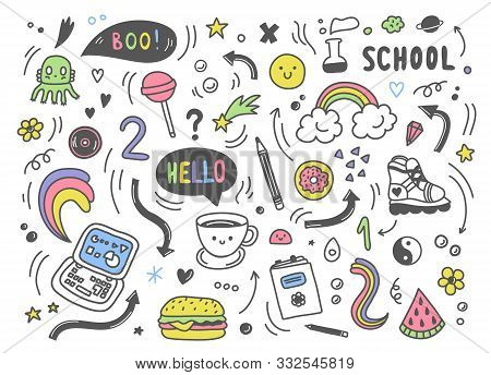 Set Of Colorful Hand Drawn Doodle Elements, Arrows, Stars, Symbols, Office Or School Objects And Sta