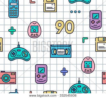 90s Gadgets Colorful Flat Line Icons.seamless Pattern With Joystick, Videotape, Cell Phone, Electron