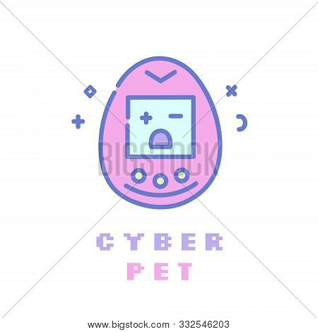 Popular 90s Electronic Game Flat Line Icon. Pastel Goth Pink Girly Clip Art.