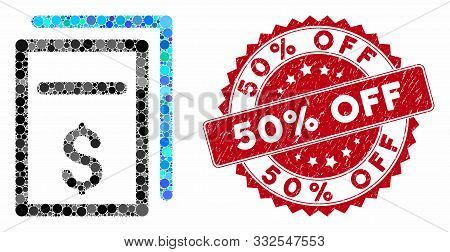 Mosaic Price Copy And Corroded Stamp Seal With 50 Percent Off Caption. Mosaic Vector Is Designed Wit