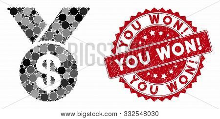 Mosaic Bestseller Medal And Corroded Stamp Seal With You Won Exclamation Phrase. Mosaic Vector Is Cr