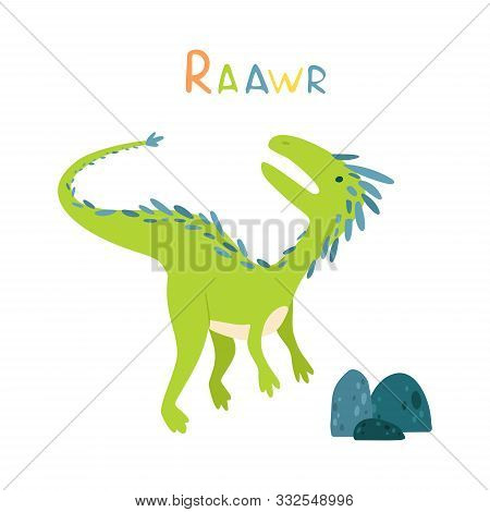 Flat Cartoon Style Cute Dinosaur With Stones. Vector Illustration For Card Or Poster, Children Room