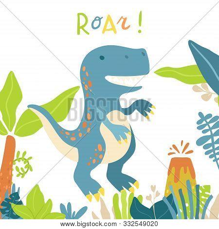 Flat Cartoon Style Cute Tyrannosaur Dinosaur. Vector Illustration For Card Or Poster, Children Room
