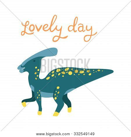 Flat Cartoon Style Cute Dinosaur. Vector Illustration For Card Or Poster, Children Room Decoration,