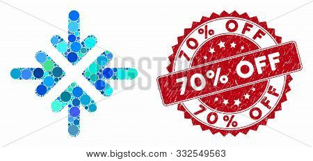 Mosaic Quadro Collide Arrows And Grunge Stamp Seal With 70 Percent Off Caption. Mosaic Vector Is Des