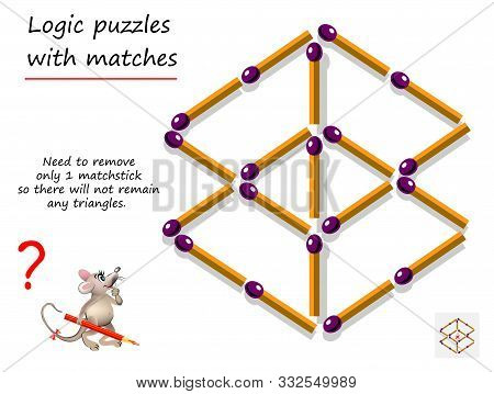 Logical Puzzle Game With Matches For Children And Adults. Need To Remove Only 1 Matchstick So There