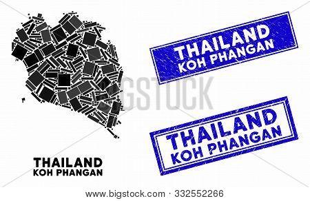 Mosaic Koh Phangan Thai Island Map And Rectangle Seal Stamps. Flat Vector Koh Phangan Thai Island Ma