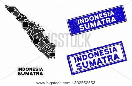Mosaic Sumatra Island Map And Rectangular Stamps. Flat Vector Sumatra Island Map Mosaic Of Random Ro