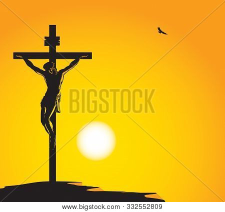 Vector Illustration On Religion Theme With The Mountain Calvary And The Crucifixion. Cross With Cruc