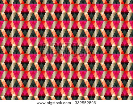 poster of Poly art grid geometric seamless vector background. Hypnotic polygon triangles geometric bauhaus design. Rich seamless pattern with gold poly gradient elements. Sharp-edged pattern design.