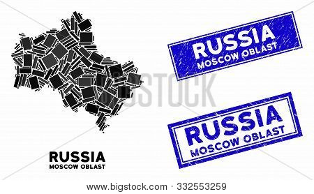 Mosaic Moscow Oblast Map And Rectangle Rubber Prints. Flat Vector Moscow Oblast Map Mosaic Of Scatte